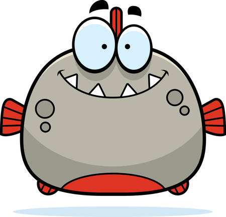 piranha: A cartoon illustration of a piranha smiling.
