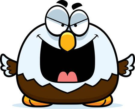 bald eagle: A cartoon illustration of an evil looking bald eagle.