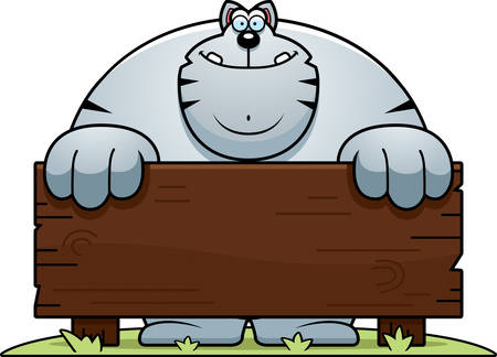 A cartoon illustration of a cat with a wooden sign.