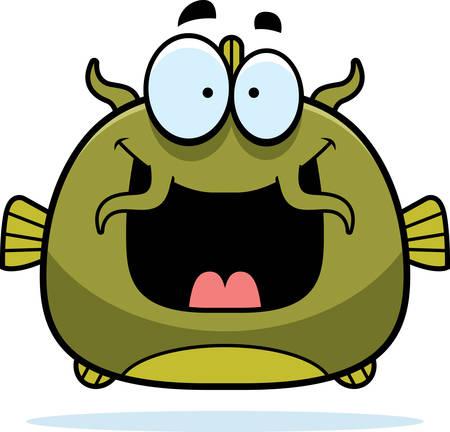 A cartoon illustration of a catfish looking happy.