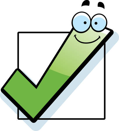 checkbox: A cartoon illustration of a checkbox smiling. Illustration