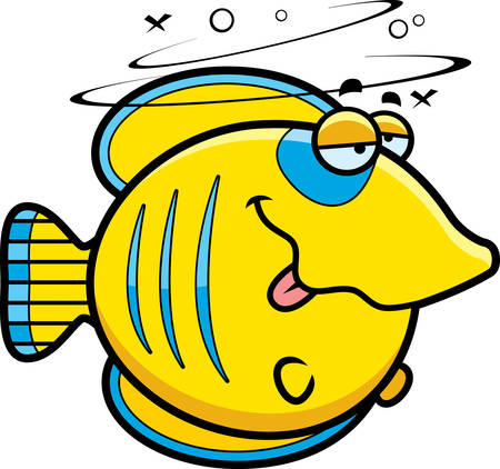 A cartoon illustration of a butterflyfish looking drunk.