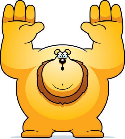 surrendering: A cartoon illustration of a lion surrendering.
