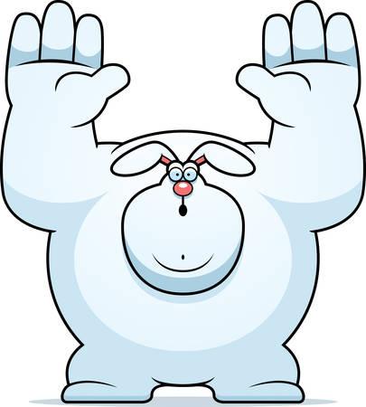 surrendering: A cartoon illustration of a rabbit surrendering.