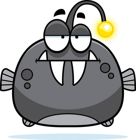 mild: A cartoon illustration of a viperfish looking bored.