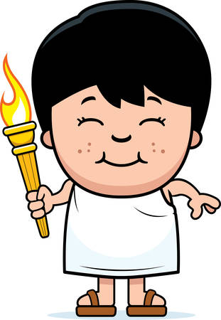 deportes caricatura: Un ejemplo de la historieta de un muchacho griego sostiene la antorcha ol�mpica.