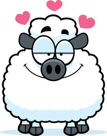 infatuated: A cartoon illustration of a lamb in love.