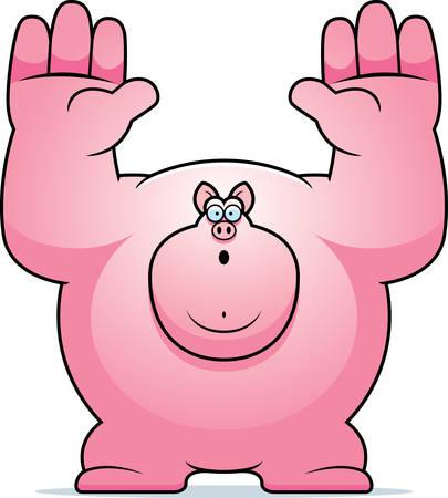 surrendering: A cartoon illustration of a pig surrendering.