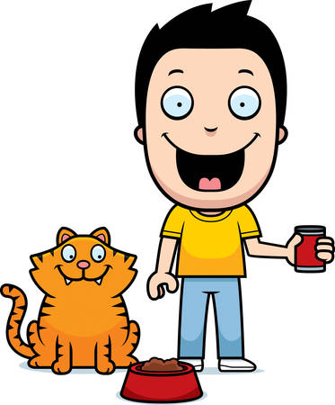 people standing: A happy cartoon boy feeding the cat. Illustration
