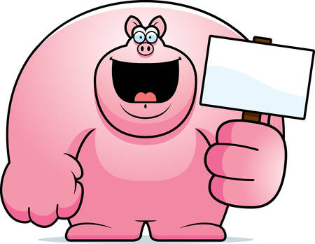 A cartoon illustration of a pig holding a sign.