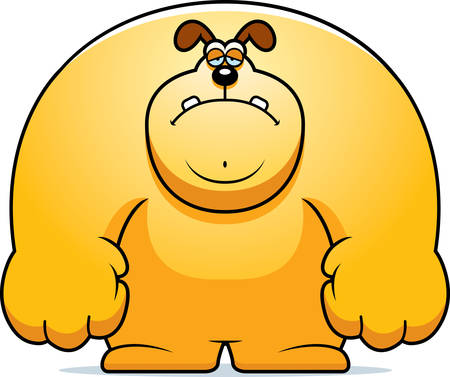 frowning: A cartoon illustration of a dog looking sad.