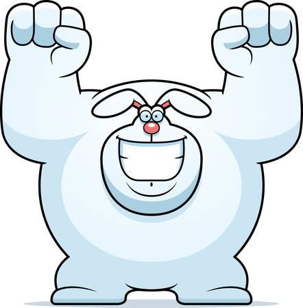 celebrating: A cartoon illustration of a rabbit celebrating.