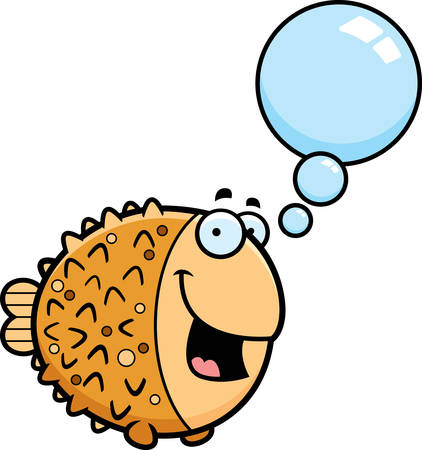 pufferfish: A cartoon illustration of a pufferfish talking.