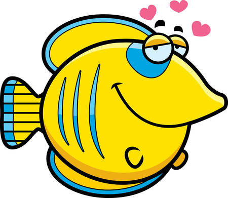 A cartoon illustration of a butterflyfish with an in love expression. Illustration