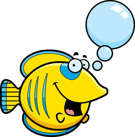 butterflyfish: A cartoon illustration of a butterflyfish talking. Illustration