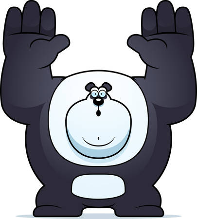 surrendering: A cartoon illustration of a panda bear surrendering.