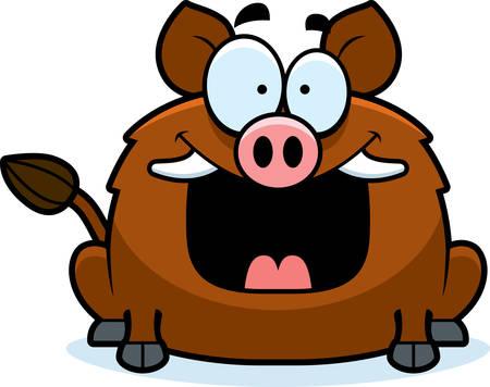 smirking: A cartoon illustration of a boar looking happy.