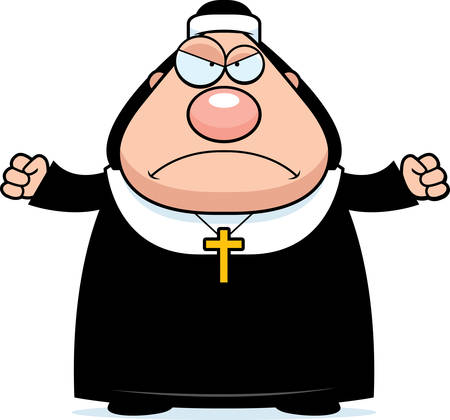 A cartoon illustration of a nun looking angry.