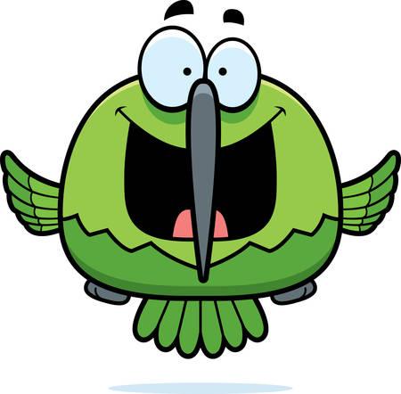 smilling: A cartoon illustration of a hummingbird looking happy. Illustration