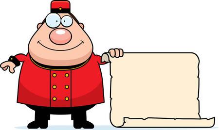 bellhop: A cartoon illustration of a bellhop with a sign. Illustration