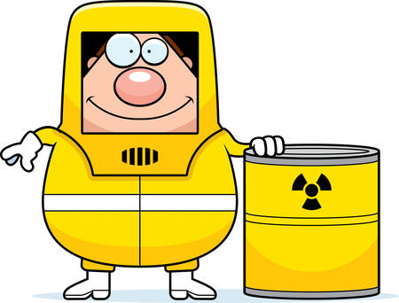 A cartoon illustration of a man in a hazmat suit with a barrel of radioactive waste. Stock fotó - 42829480