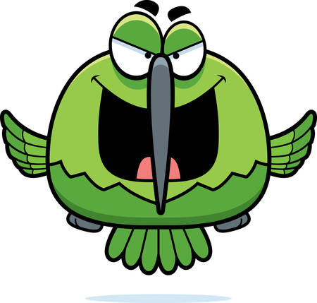hover: A cartoon illustration of an evil looking hummingbird.