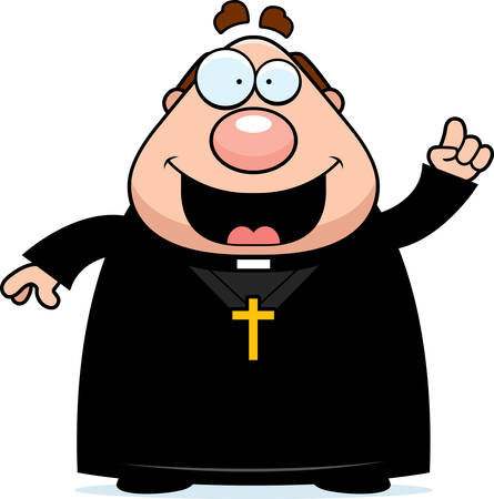 A cartoon illustration of a priest with an idea.