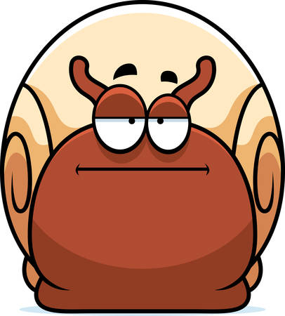 A cartoon illustration of a snail looking bored. Çizim