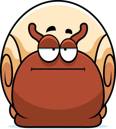 mollusc: A cartoon illustration of a snail looking bored. Illustration