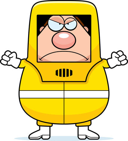 hazmat: A cartoon illustration of a man in a hazmat suit looking angry.