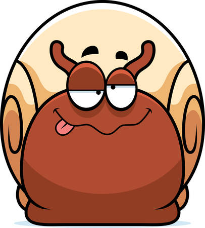 A cartoon illustration of a snail looking drunk. Çizim