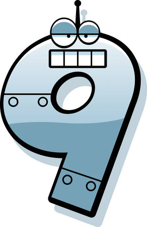 numbers clipart: A cartoon illustration of a number nine as a metal robot. Illustration