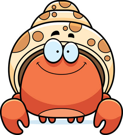 A cartoon illustration of a hermit crab smiling. Ilustrace
