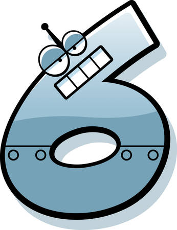 numbers clipart: A cartoon illustration of a number six as a metal robot.