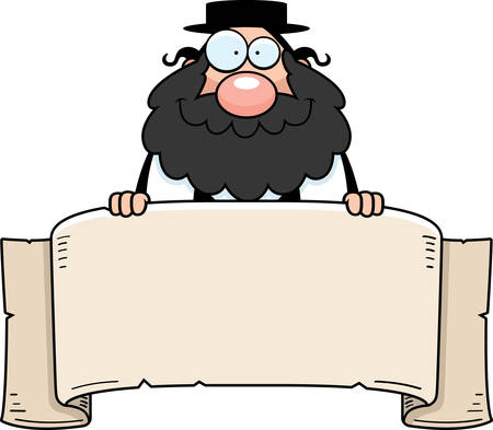 rabbi: A cartoon illustration of a rabbi with a banner.