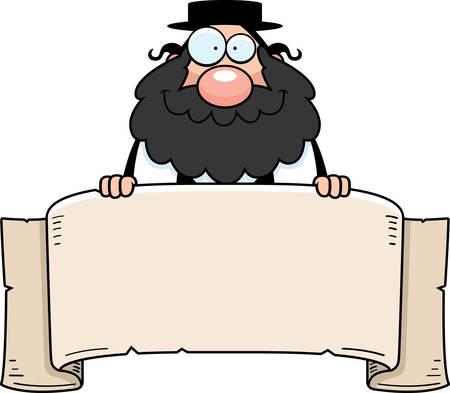 the rabbi: A cartoon illustration of a rabbi with a banner.