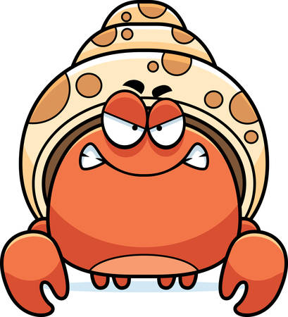 A cartoon illustration of a hermit crab looking angry. Illustration
