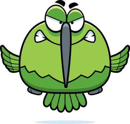 hover: A cartoon illustration of a hummingbird looking angry.
