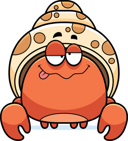 A cartoon illustration of a hermit crab looking drunk.