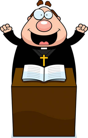 A cartoon illustration of a priest giving a sermon.