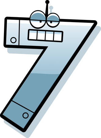 numbers clipart: A cartoon illustration of a number seven as a metal robot. Illustration