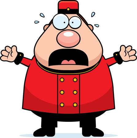 concierge: A cartoon illustration of a bellhop looking scared.