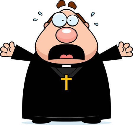 A cartoon illustration of a priest looking scared. Ilustracja