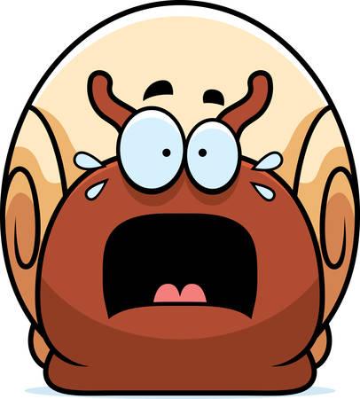 A cartoon illustration of a snail looking scared.