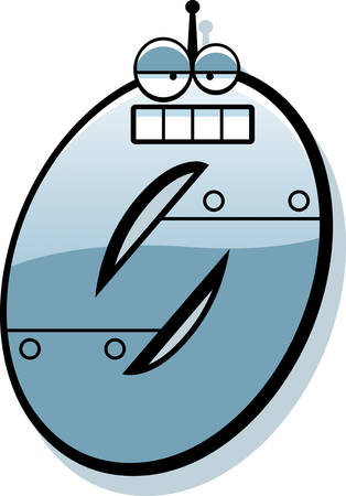 numbers clipart: A cartoon illustration of a number zero as a metal robot.