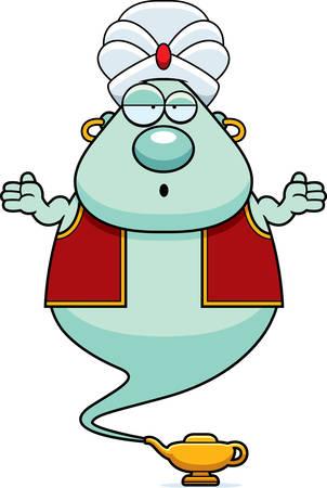 djinn: A cartoon illustration of a genie looking confused.