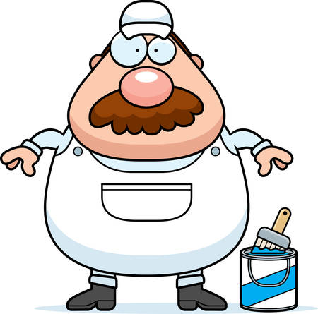 coveralls: A cartoon illustration of a painter with a mustache.