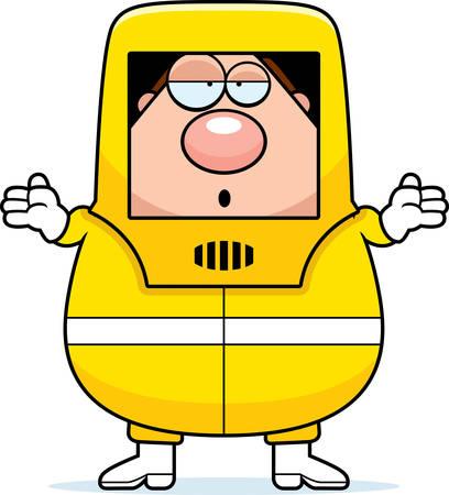 hazmat: A cartoon illustration of a man in a hazmat suit looking confused. Illustration