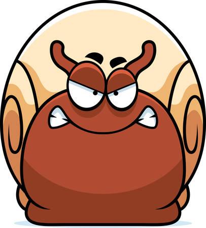 cartoon snail: A cartoon illustration of a snail looking angry. Illustration