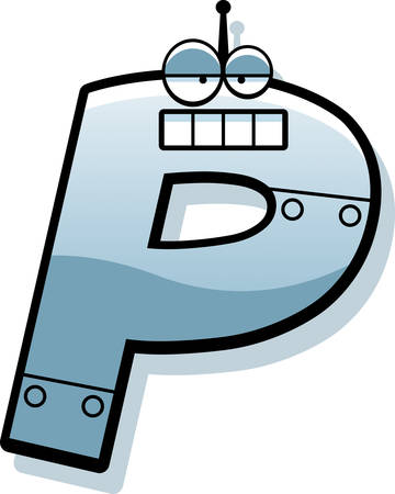 A cartoon illustration of a letter P as a metal robot.